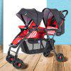 2 Babies One Button Folding Lay Flat Stroller Baby Car - RED