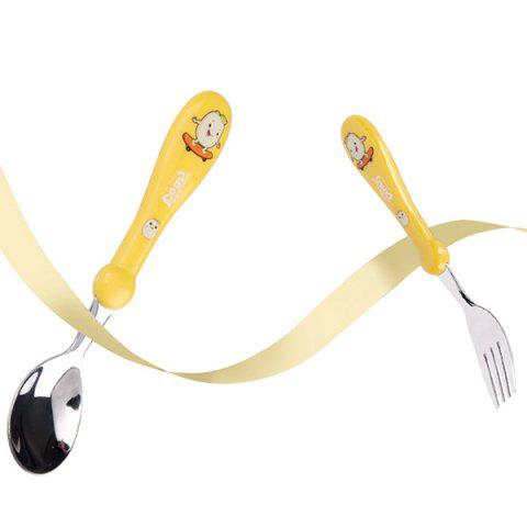 Littlebean Stainless Steel Baby Tableware Portable Training Fork Spoon 2pcs - YELLOW