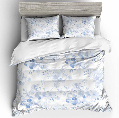 T45 3D Digital Printing Ink Plum Blossom Bedding 3pcs / Set - MILK WHITE TWIN