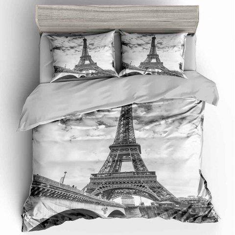 T31 3D Digital Printing Iron Tower Bedding Set - multicolor A KING