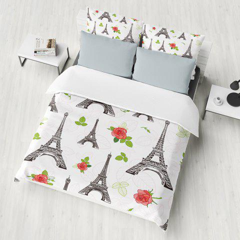 T36 3D Small Tower Digital Printing Bedding 3pcs / Set - MILK WHITE KING