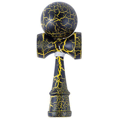 Attractive Funny Japanese Traditional Wood Throw Ball Toys - YELLOW