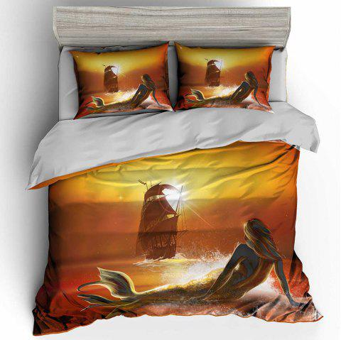 3D Digital Printing Polyester Fiber Mermaid Bedding 3pcs / Set - GOLDEN BROWN KING