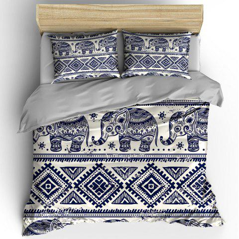 T47 Fashion Digital Print  Blue Elephant Bedding 3pcs / Set - DARK SLATE BLUE QUEEN