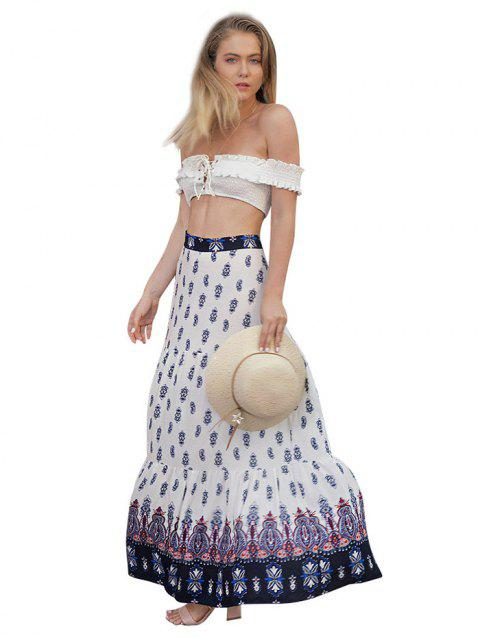 Women's Personality Pleated Bohemian Print Large Swinged Skirt - WHITE L