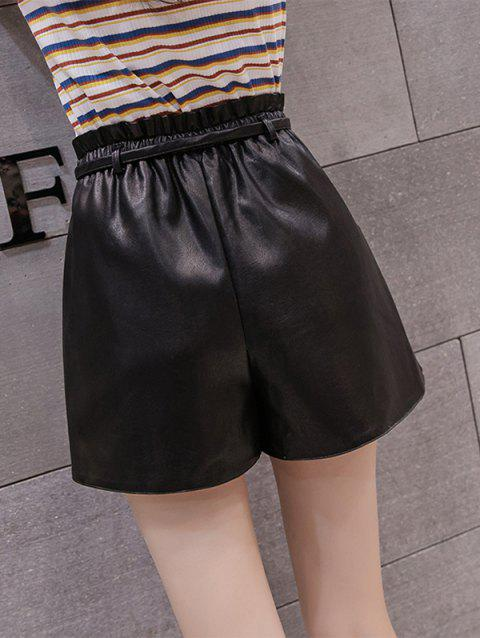 Buckle-fastening PU Leather Wide-leg High-waist Shorts - BLACK S