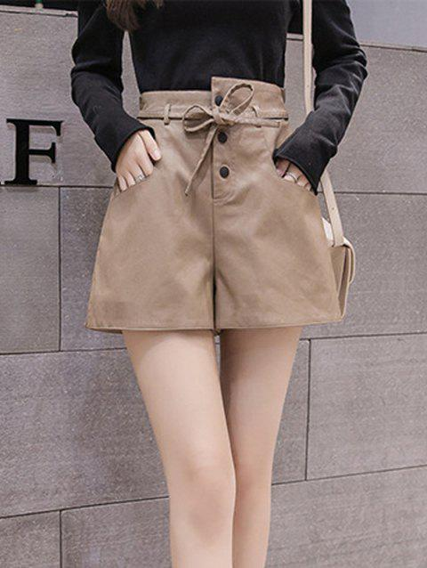 Buckle-fastening PU Leather Wide-leg High-waist Shorts - CAMEL BROWN S