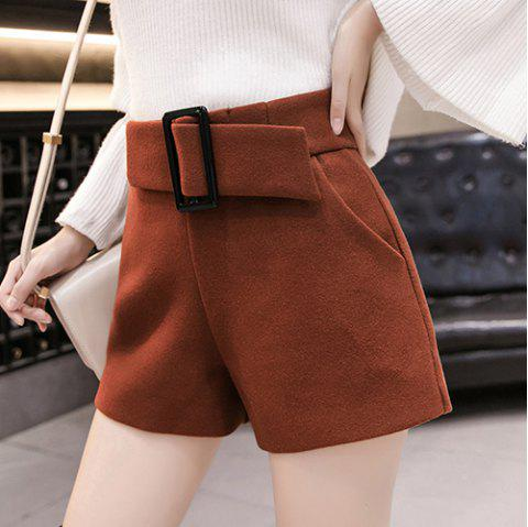 Wool Solid Color High Waist Casual Shorts - CARAMEL S