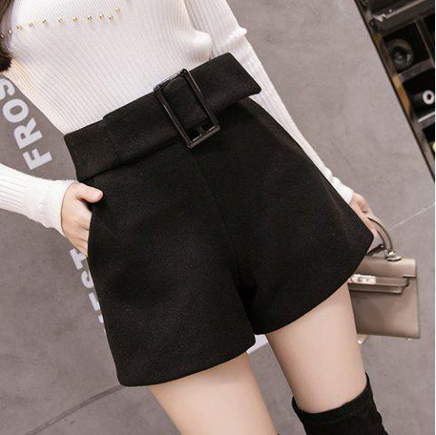 Wool Solid Color High Waist Casual Shorts - BLACK S