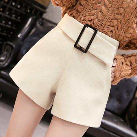 Wool Solid Color High Waist Casual Shorts - APRICOT L