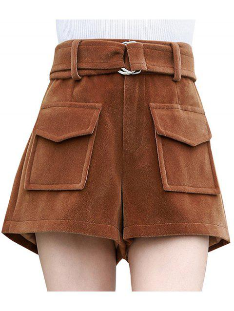 Woolen Female Casual Loose High Pants Pantalons - Marron Camel L