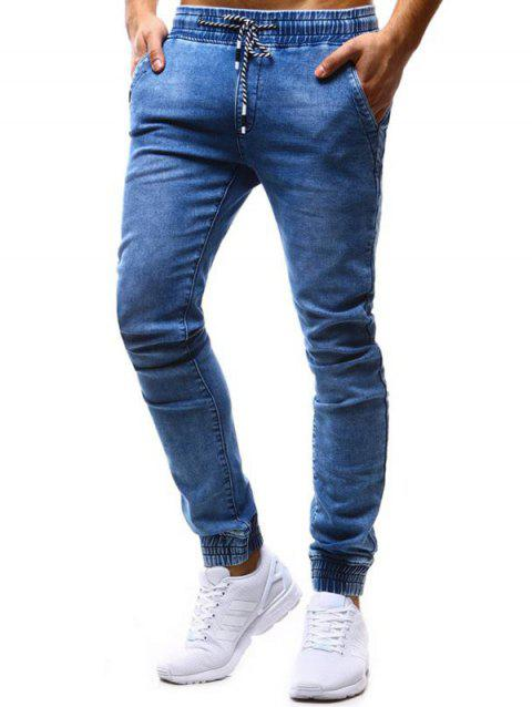K99 Men's Pants Classic Loose Tether Elastic Casual Jeans - DODGER BLUE XL
