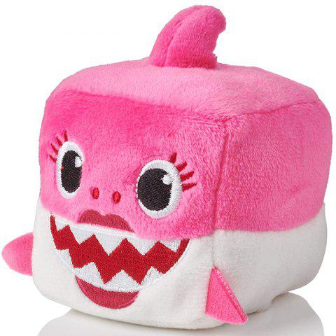 Square Shark Baby Plush Toy - HOT PINK