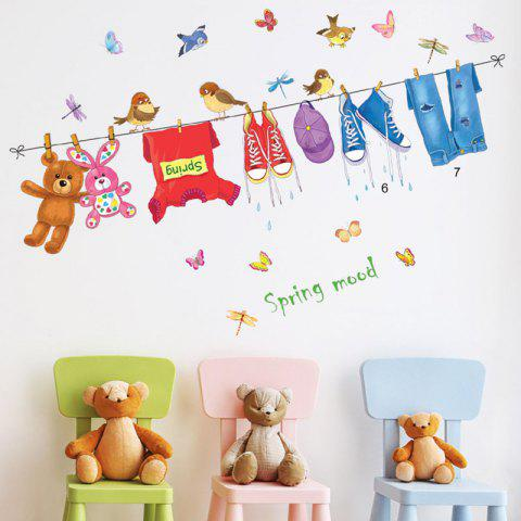 ABC1063 Drying Rack Cartoon Wall Sticker - multicolor