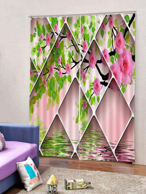 2 Panels Flower Tree Print Window Curtains - multicolor W30 X L65 INCH X 2PCS