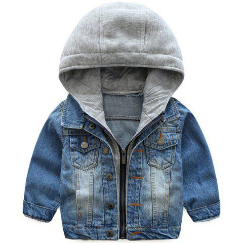 Spring Autumn Korean Denim Tops Casual Children's Jacket - SILK BLUE 130