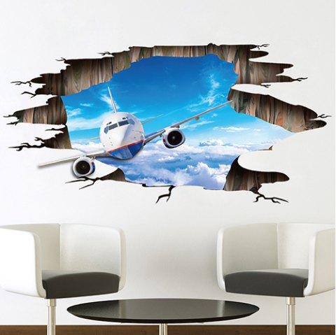 FX9609 3D Sky Plane Floor PVC Removable Decorative Painting Wall Sticker - DEEP SKY BLUE