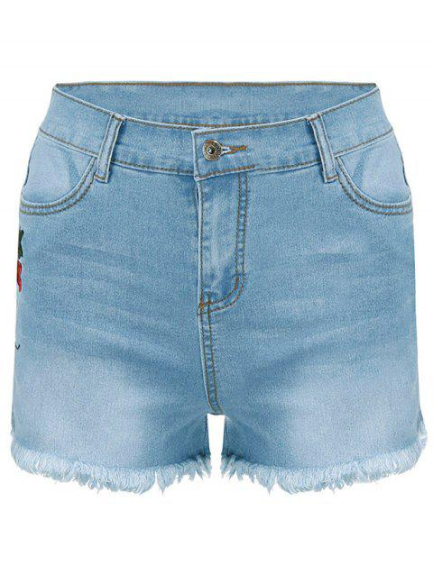 Vintage Rose Embroidered Denim Shorts - LIGHT BLUE S