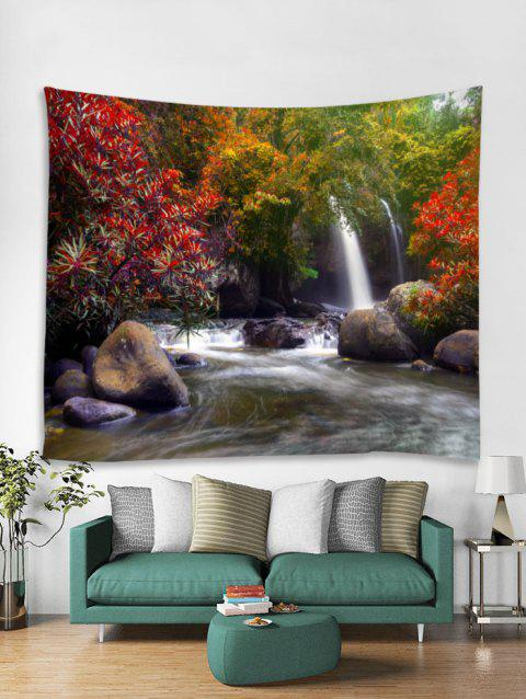 Forest River Waterfall Print Tapestry Wall Hanging Decoration - multicolor W79 X L59 INCH