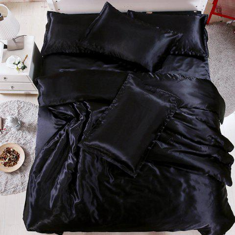 Solid Color Simulation Silk Four-piece Bedding Set - BLACK FULL