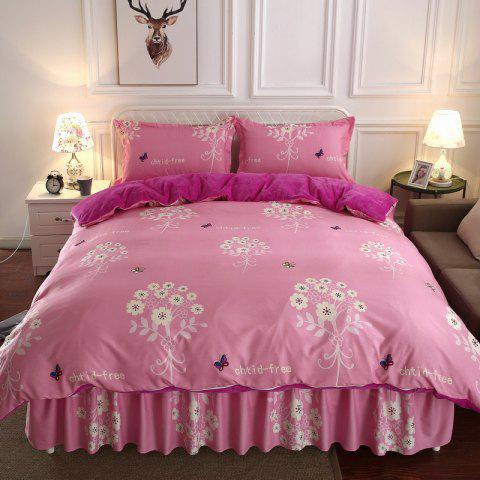 Thicken Pure Flannel Four-piece Bedding Set - PINK TWIN SIZE