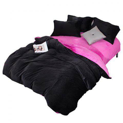 Winter Thick Warm AB Version Black Rose Flannel Four-piece Bedding Set - BLACK QUEEN SIZE