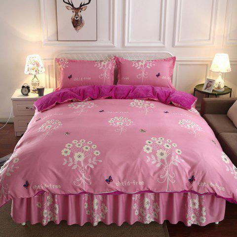 Double-sided Thick Warm Flannel Four-piece Bedding Set - PINK KING SIZE