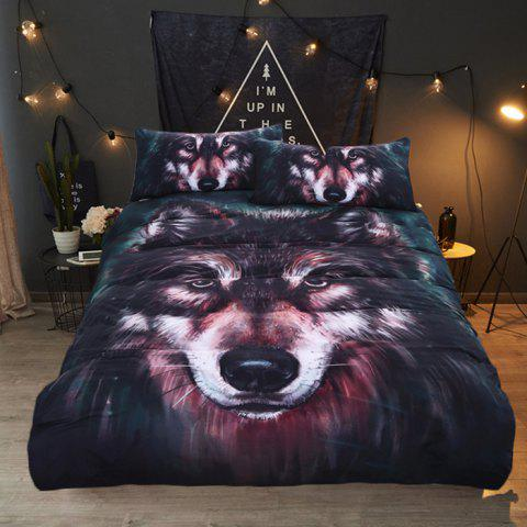 3D Oil Painting Wolf Print Cross-country Home Textile Bedding Set - DARK SLATE BLUE QUEEN SIZE