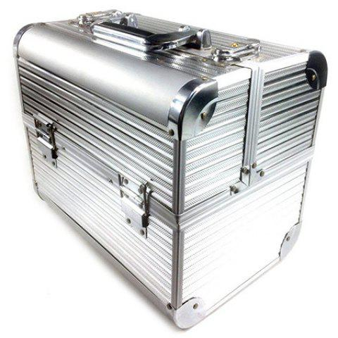 Hardware Toolbox Aluminum Alloy Double Open Multi-function Storage Box - SILVER