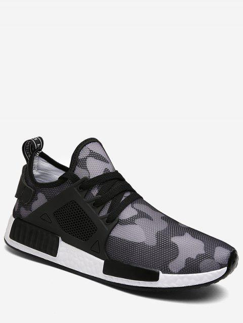 Camouflage Lace Up Running Sneakers - BLACK EU 42