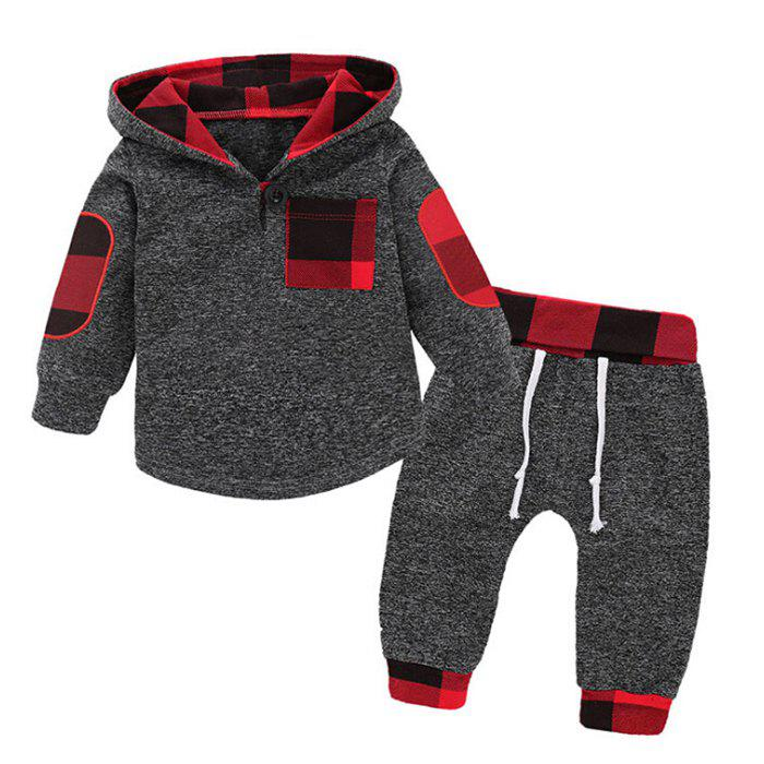 Boy's Hoodie Suit Casual Hooded Plaid Stitching - CLOUDY GRAY 100