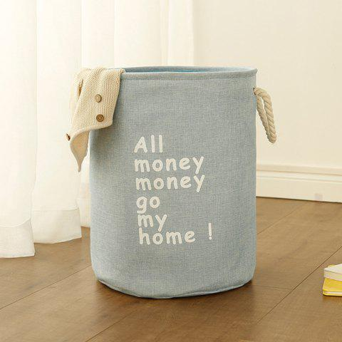 Leisure Cotton and Linen Folding Thickening Home Storage Basket - BLUE GRAY