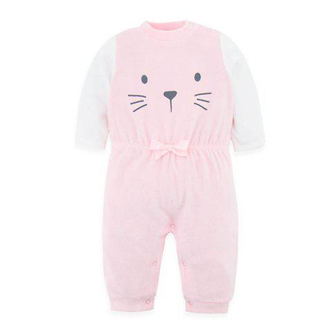 B - 020 Spring And Autumn Baby Velvet Siamese Climbing Suit - PINK 6-9M