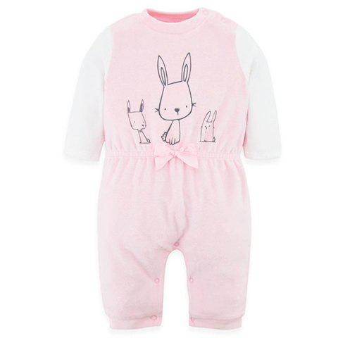 B - 019 Spring Autumn Baby's One-piece Climbing Suit - PINK 3-6M