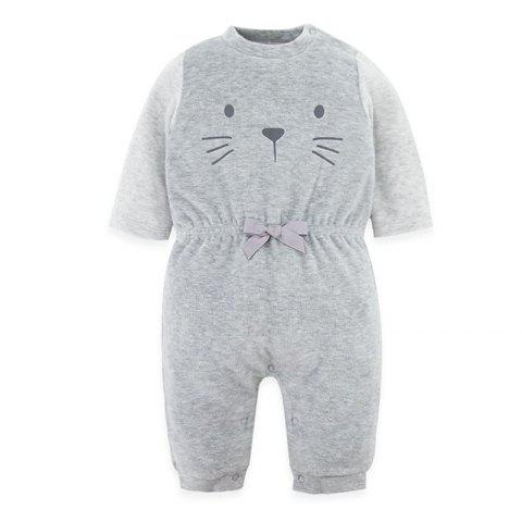 B - 020 Spring And Autumn Baby Velvet Siamese Climbing Suit - LIGHT GRAY 3-6M
