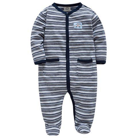B - 022 Cotton Spring And Autumn Baby Boy Color Strip Jumpsuit - GRAY GOOSE 74/80