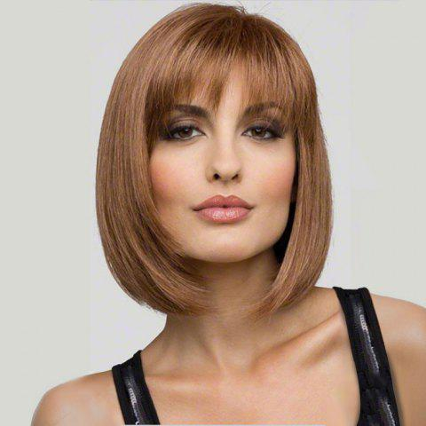 Fashion Short Hair Girls Slanting Bangs Bobo Wig - TIGER ORANGE