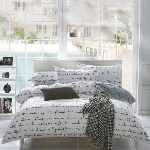 Nordic Refreshing Simple English Letter Four-piece Bedding Set - WHITE KING SIZE