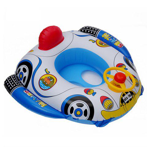 Cartoon Children's Green PVC Thick Inflatable Ring Steering Wheel Horn Swimming Boat - BLUEBERRY BLUE