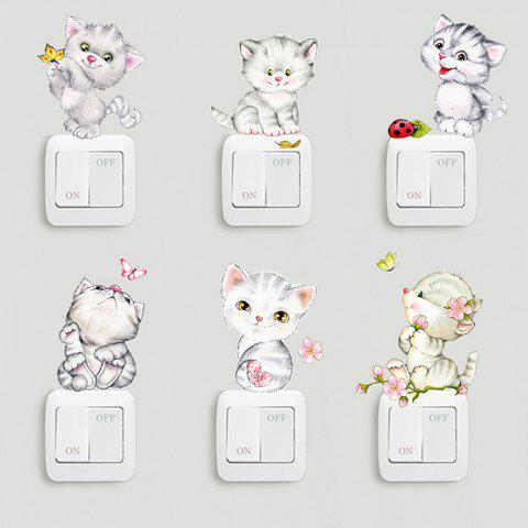 Cute Cat Removable Decoration Sticker - multicolor A
