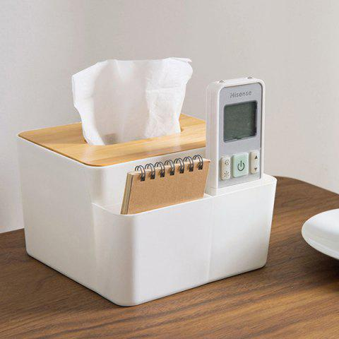 Desktop Storage Tissue Box Home Creative Paper Towel Tray - WHITE