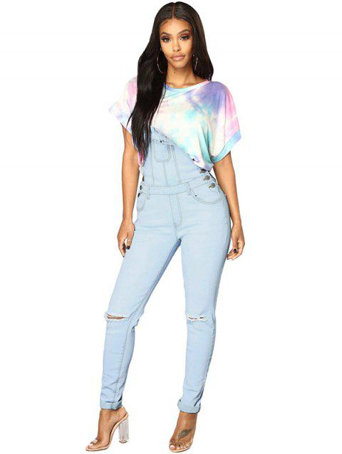 786076 Sling High Waist Retro Hole Denim Overalls - LIGHT SKY BLUE L