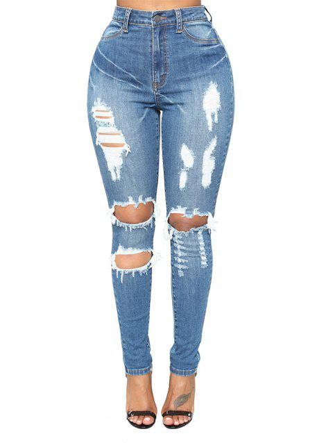 Women Slim Hole Comfortable High Waist Denim Jeans - JEANS BLUE M
