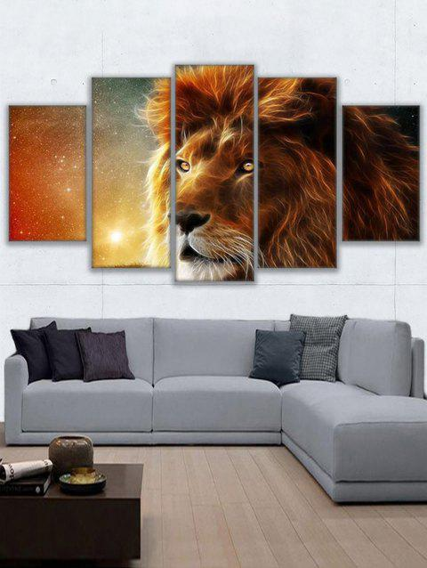 Lion Print Split Unframed Canvas Paintings - BROWN 1PC X 12 X 31,2PCS X 12 X 16,2PCS X 12 X 24 INCH(