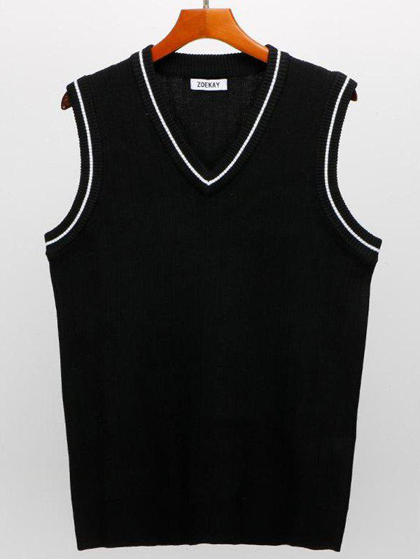 Men's Knitted Vest - BLACK S