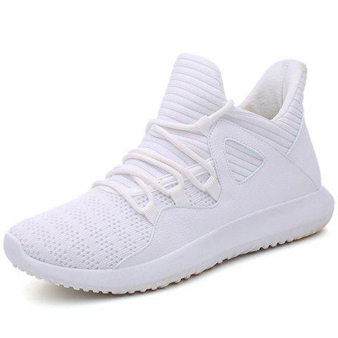 Men Fashionable Lightweight Solid Leisure Sports Shoes - WHITE EU 46