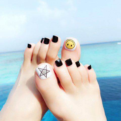 Manicure Holiday Wind Beach Seaside Smile Star Nail Sticker 24pcs - BLACK