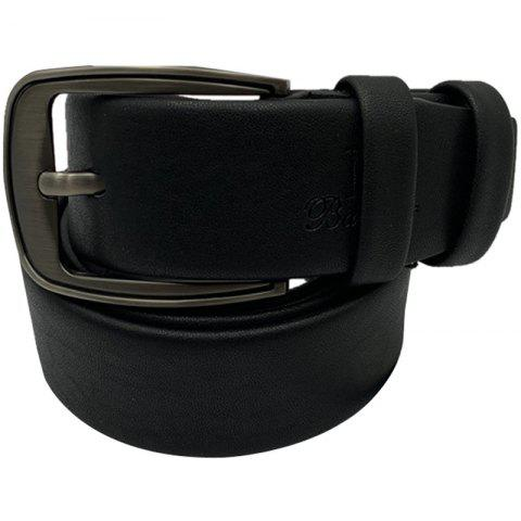 Men Casual Pin Buckle Pure Leather Belt - BLACK