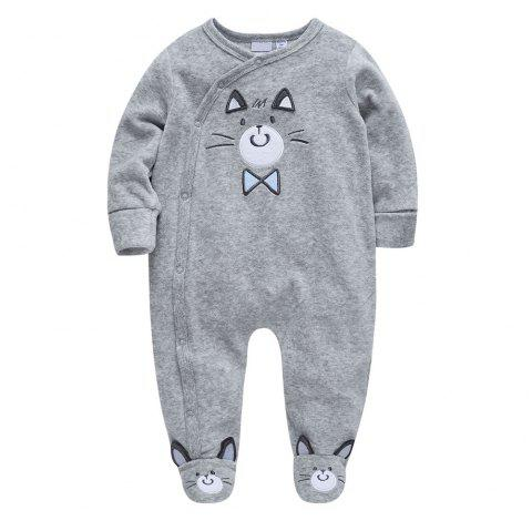 B - 023 Baby Boy Cartoon Climbing Suit - GRAY CLOUD 3-6M