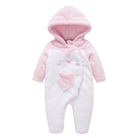 B - 009 Female Baby Padded Jumpsuit - PINK 0-1M